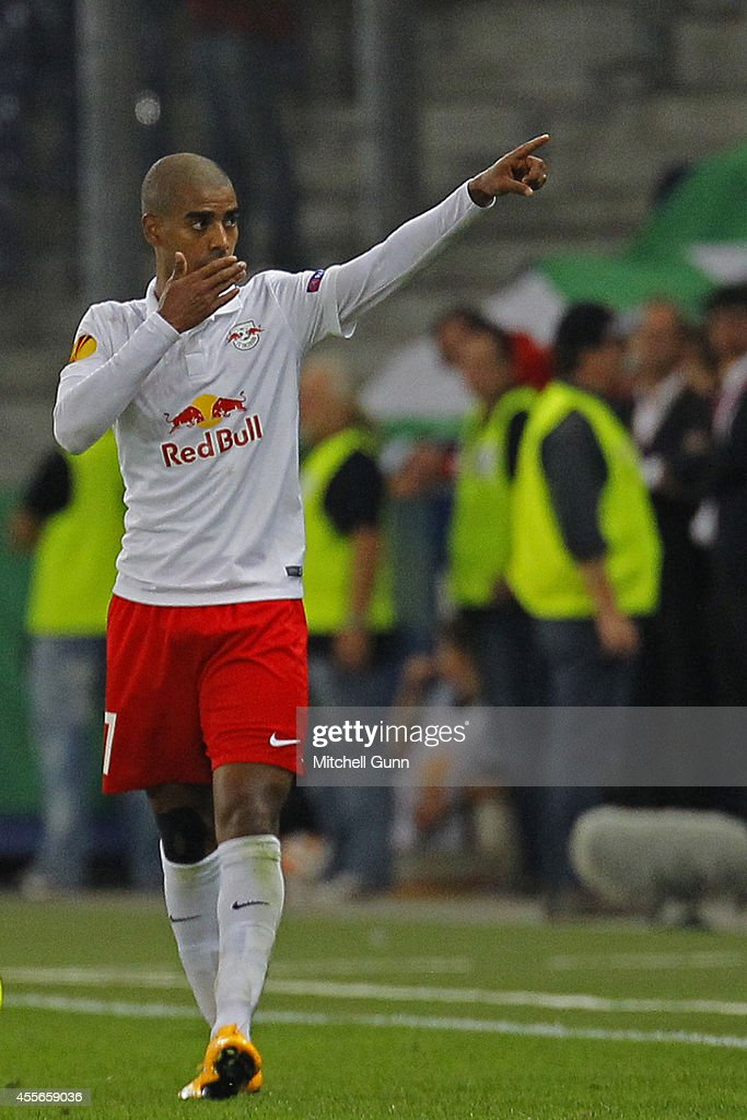 Alan of Salzburg celebrates scoring a goal during the UEFA Europa League match between Salzburg and Celtic. September 18, 2014 in Salzburg, Austria.