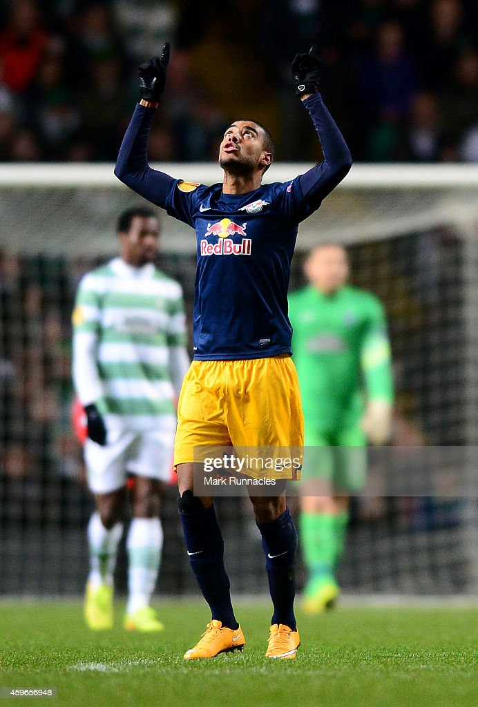 Alan of Salzburg celebrates scoring his second goal of the game during the UEFA Europa League group D match between Celtic FC and FC Salzburg at Celtic Park on November 27, 2014 in Glasgow Scotland.