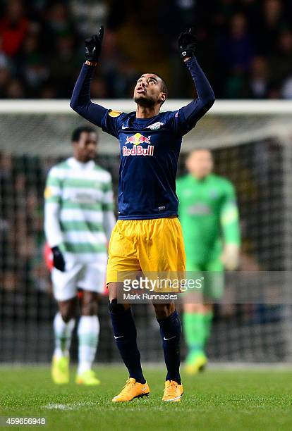 Alan of Salzburg celebrates scoring his second goal of the game during the UEFA Europa League group D match between Celtic FC and FC Salzburg at...