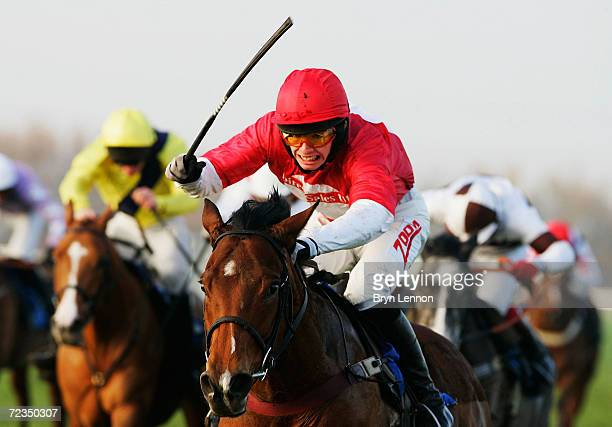 Alan O'Keeffe rides Idole First to victory in the Totejackpot Handicap Hurdle Race at Huntingdon Race Course on December 9 2004 in Huntingdon England