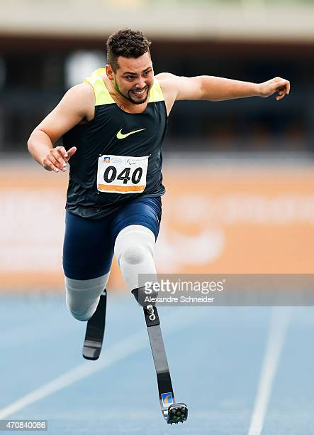 Alan Oliveira of Brazil competes in the Men's 100 meters qualifying at Ibirapuera Sports Complex during day one of the Caixa Loterias 2015...