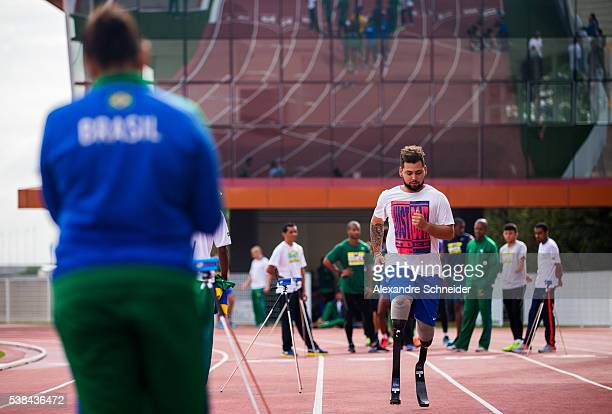Alan Oliveira of Paralympic Brazilian team during the training session during the inauguration of Brazilian Paralympic Training Center on June 6 2016...