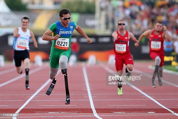Alan Oliveira Oliveira of Brazil wins the Men's 100m T43 final during day four of the IPC Athletics World Championships on July 23 2013 in Lyon France