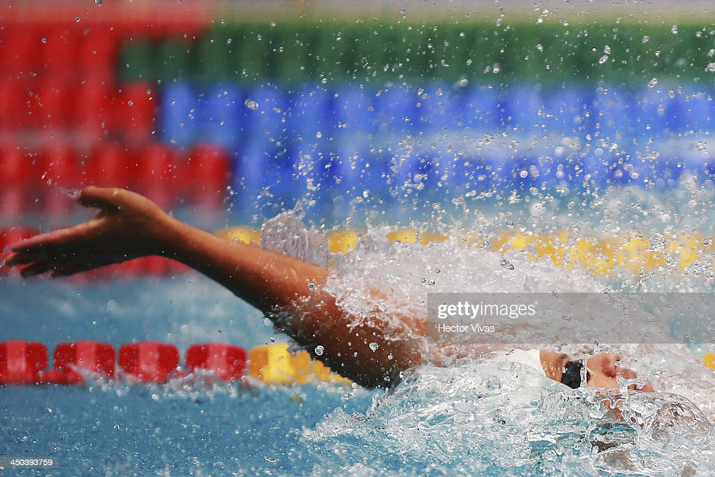 Alan Ostolaza of Peru during the 400 meters free swimming competition as part of the XVII Bolivarian Games Trujillo 2013 at pools complex of Mansiche Stadium on November 18, 2013 in Trujillo, Peru.