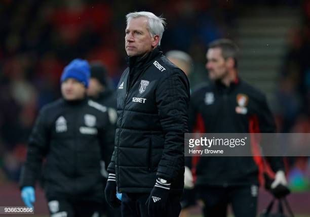Alan Pardew coach of West Bromwich Albion looks on during the Premier League match between AFC Bournemouth and West Bromwich Albion at Vitality...