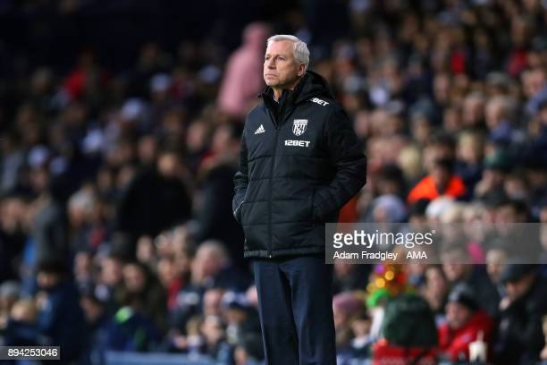 Alan Pardew head coach / manager of West Bromwich Albion during the Premier League match between West Bromwich Albion and Manchester United at The...