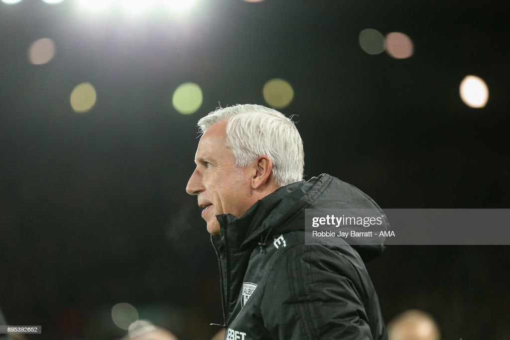 Alan Pardew head coach / manager of West Bromwich Albion during the Premier League match between Liverpool and West Bromwich Albion at Anfield on December 13, 2017 in Liverpool, England.