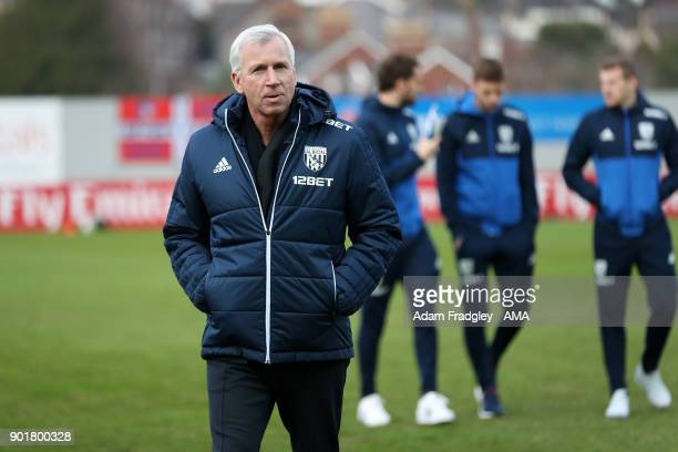 Alan Pardew head coach / manager of West Bromwich Albion prior to the The Emirates FA Cup Third Round match between Exeter City v West Bromwich...