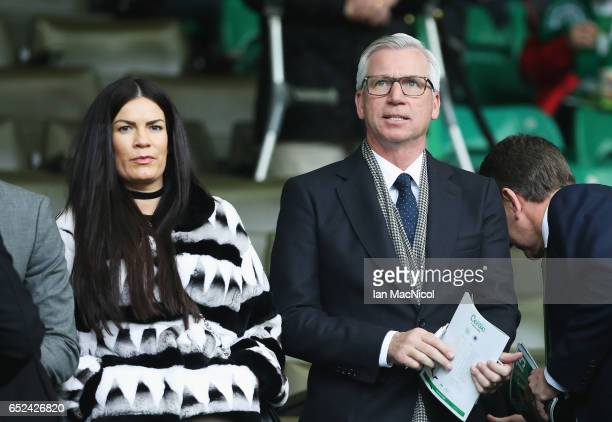 Alan Pardew is seen in the stands prior to the Ladbrokes Scottish Premiership match between Celtic and Rangers at Celtic Park on March 12 2017 in...
