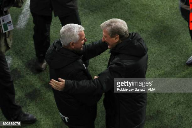 Alan Pardew manager / head coach of West Bromwich Albion and Roy Hodgson head coach / manager of Crystal Palace during the Premier League match...