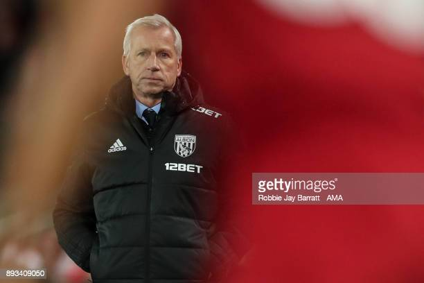 Alan Pardew manager / head coach of West Bromwich Albion during the Premier League match between Liverpool and West Bromwich Albion at Anfield on...