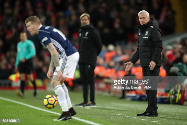 Alan Pardew manager / head coach of West Bromwich Albion looks on during the Premier League match between Liverpool and West Bromwich Albion at...