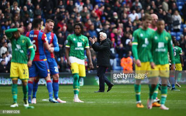 Alan Pardew Manager of Crystal Palace applauds after his team's 10 win in the Barclays Premier League match between Crystal Palace and Norwich City...