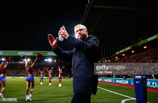 Alan Pardew manager of Crystal Palace arrives for his first home game in charge during the Barclays Premier League match between Crystal Palace and...