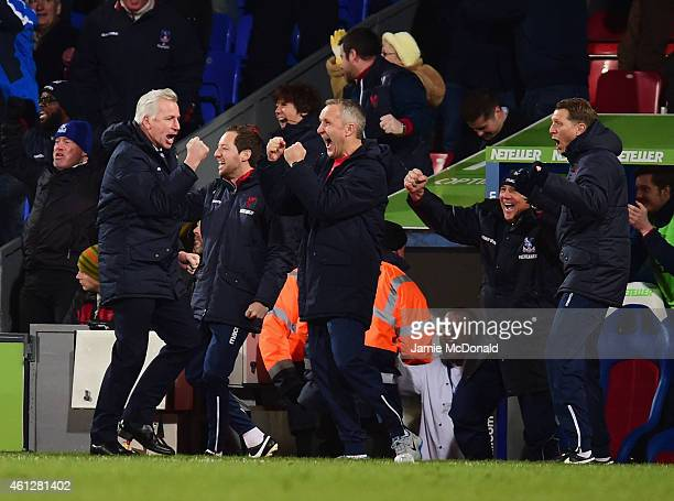 Alan Pardew manager of Crystal Palace celebrates a goal with the bench during the Barclays Premier League match between Crystal Palace and Tottenham...