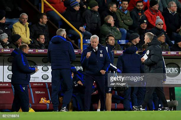 Alan Pardew Manager of Crystal Palace celebrates his sides goal during the Premier League match between Burnley and Crystal Palace at Turf Moor on...