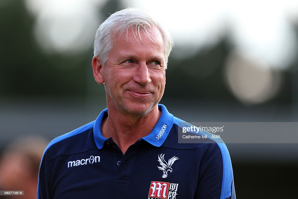 Alan Pardew manager of Crystal Palace during the Pre-Season Friendly match between AFC Wimbledon and Crystal Palace at The Cherry Red Records Stadium on July 27, 2016 in Kingston upon Thames, England.