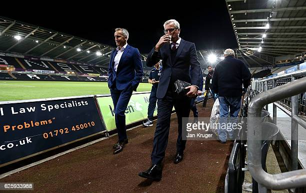 Alan Pardew manager of Crystal Palace leaves the stadium after the final whistle during the Premier League match between Swansea City and Crystal...