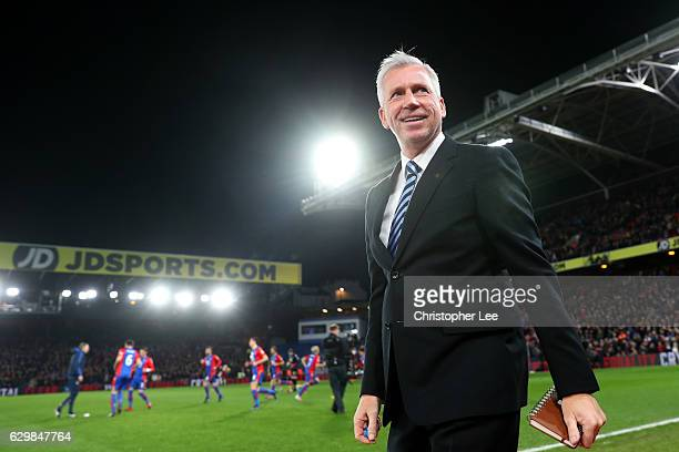Alan Pardew Manager of Crystal Palace looks on prior to the Premier League match between Crystal Palace and Manchester United at Selhurst Park on...