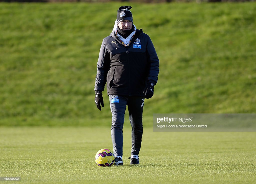 Alan Pardew manager of Newcastle United during a training session at The Newcastle United Training Centre on December 11, 2014 in Newcastle upon Tyne, England.