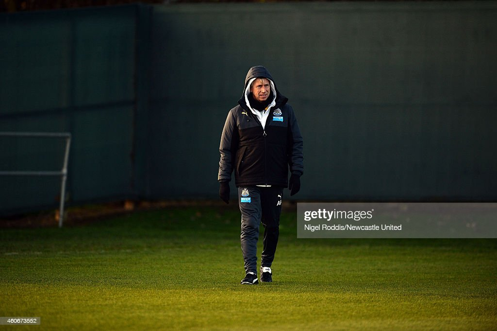 Alan Pardew manager of Newcastle United during a training session at The Newcastle United Training Centre on December 19, 2014 in Newcastle upon Tyne, England.