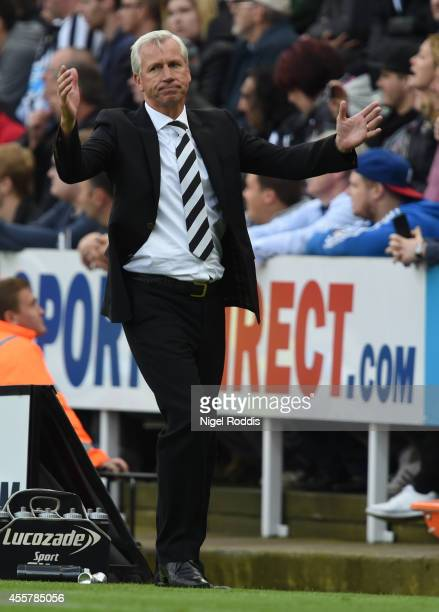 Alan Pardew manager of Newcastle United during Premier League Football match between Newcastle United and Hull City at St James' Park on September 20...