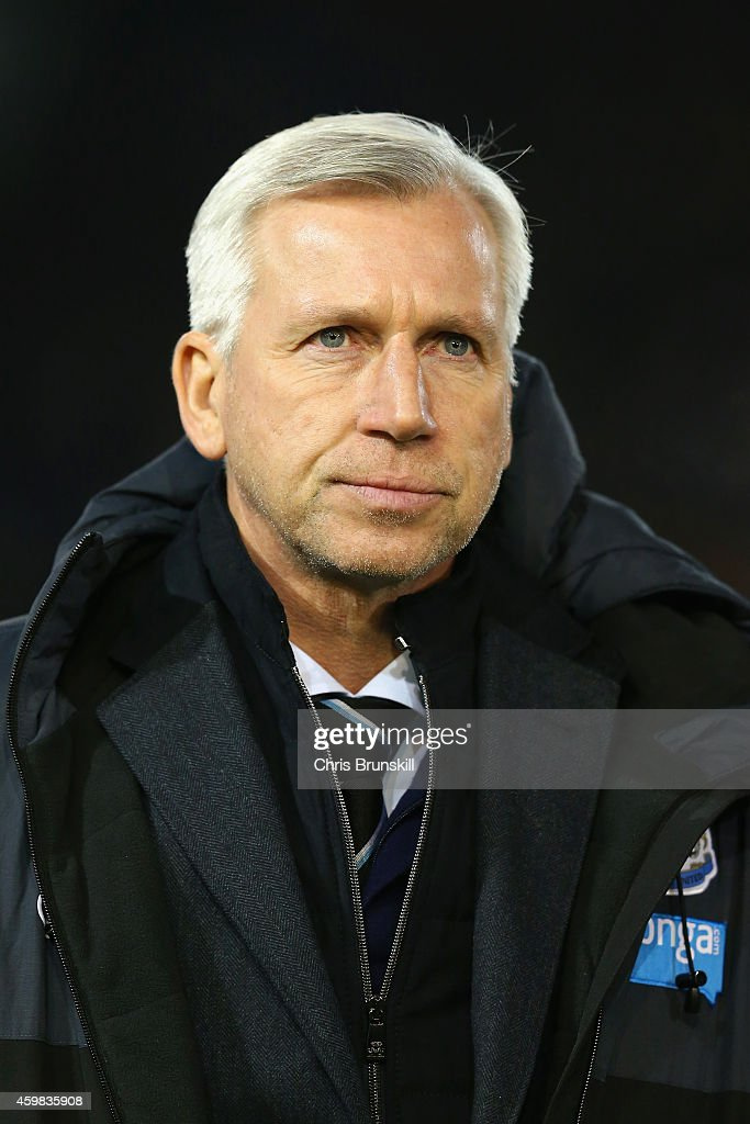 Alan Pardew manager of Newcastle United looks on during the Barclays Premier League match between Burnley and Newcastle United at Turf Moor on December 2, 2014 in Burnley, England.
