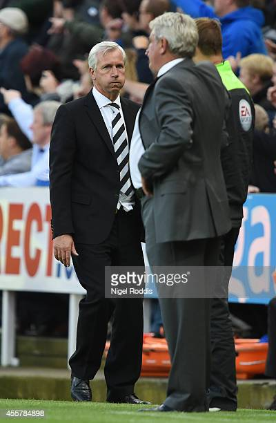 Alan Pardew manager of Newcastle United reacts after the Premier League Football match between Newcastle United and Hull City at St James' Park on...