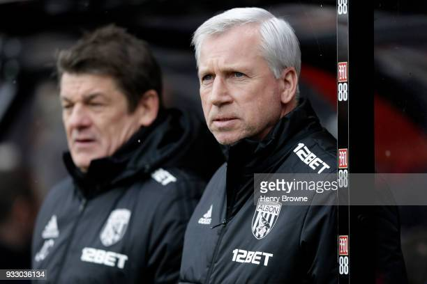 Alan Pardew Manager of West Bromwich Albion looks on ahead of the Premier League match between AFC Bournemouth and West Bromwich Albion at Vitality...