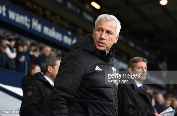 Alan Pardew Manager of West Bromwich Albion looks on prior to the Premier League match between West Bromwich Albion and Manchester United at The...