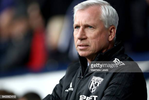 Alan Pardew Manager of West Bromwich Albion looks on prior to the Premier League match between West Bromwich Albion and Burnley at The Hawthorns on...