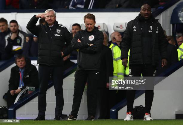 Alan Pardew Manager of West Bromwich Albion reacts during the Premier League match between West Bromwich Albion and Burnley at The Hawthorns on March...