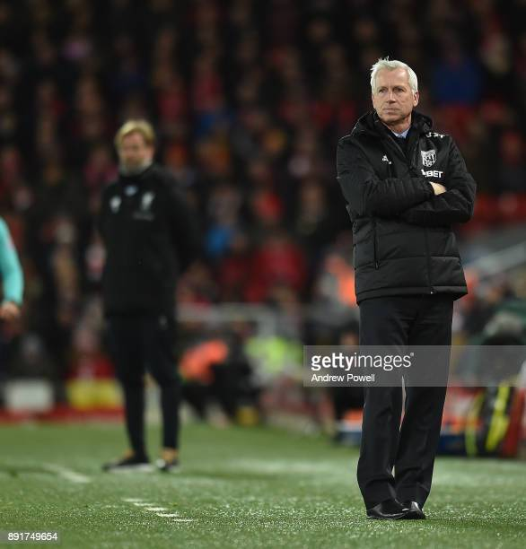 Alan Pardew of West Brom during the Premier League match between Liverpool and West Bromwich Albion at Anfield on December 13 2017 in Liverpool...