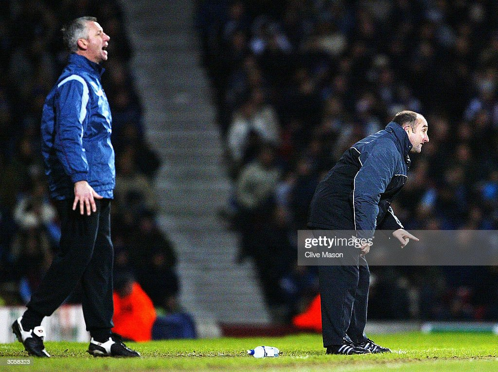 Alan Pardew of West Ham and Stuart Murdoch of Wimbledon during the Nationwide Division One match between West Ham United and Wimbledon at Upton Park on March 9, 2004 in London.
