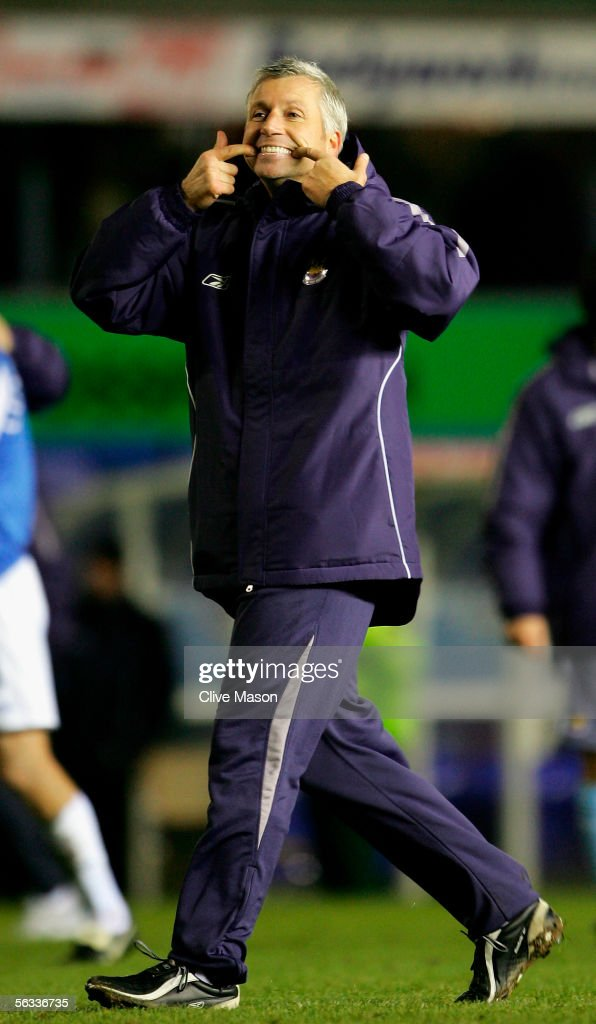 Alan Pardew of West Ham celebrates victory after the Barclays Premiership match between Birmingham City and West Ham United at St Andrews Road on December 5, 2005 in Birmingham, England.
