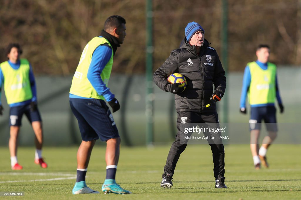 Alan Pardew the head coach / manager of West Bromwich Albion during a training session on November 30, 2017 in West Bromwich, England.