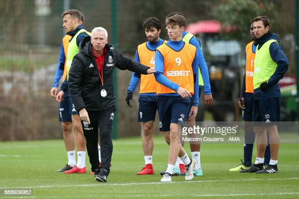 Alan Pardew the head coach / manager of West Bromwich Albion during training on December 5 2017 in West Bromwich England