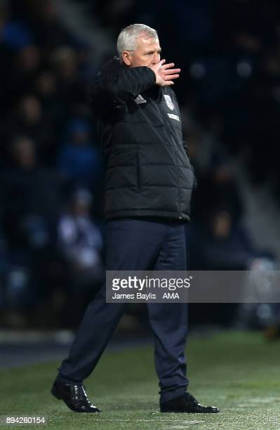 Alan Pardew the head coach / manager of West Bromwich Albion during the Premier League match between West Bromwich Albion and Manchester United at...