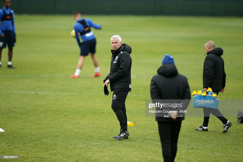 Alan Pardew the head coach / manager of West Bromwich Albion on December 19, 2017 in West Bromwich, England.