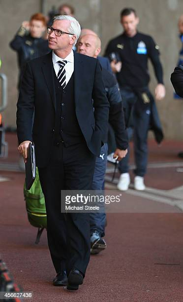 Alan Pardew the manager of Newcastle United arrives at the stadium ahead of the Barclays Premier League match between Swansea City and Newcastle...