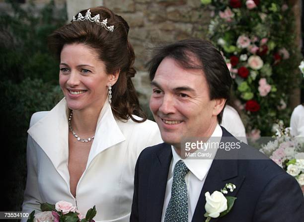 Alan Parker and Jane Hardman leave their wedding at Christ Church Kensington on March 9 2007 in London England Gordon Brown also attended the wedding...