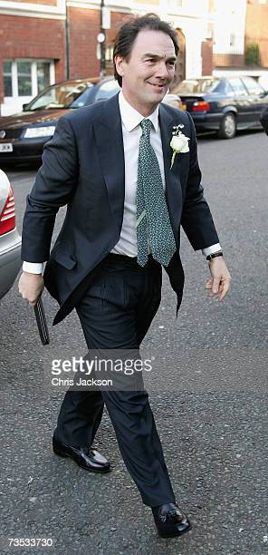 Alan Parker arrives for his wedding to Jane Hardman at Christ Church Kensington on March 9 2007 in London England