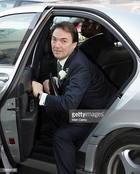 Alan Parker arrives for his wedding to Jane Hardman at Christ Church Kensington on March 9 2007 in London England Gordon Brown also attended the...