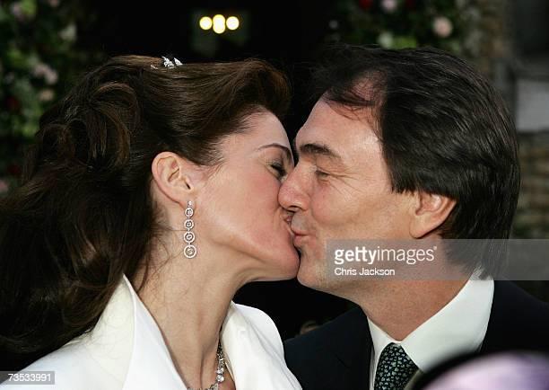 Alan Parker kisses Jane Hardman at Christ Church Kensington after marrying her on March 9 2007 in London England