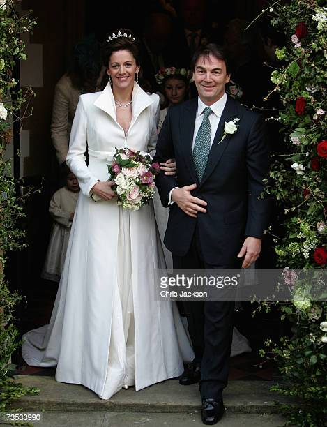 Alan Parker leaves Christ Church Kensington after marrying Jane Hardman at Christ Church Kensington on March 9 2007 in London England