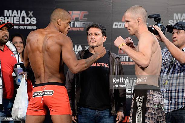 Alan Patrick and Garett Whiteley face off during the UFC Fight Night: Maia v Shields weigh-in at the Ginasio Jose Correa on October 8, 2013 in...