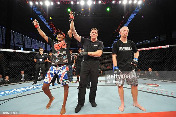 Alan Patrick celebrates after defeating Garett Whiteley in their lightweight bout during the UFC Fight Night event at the Ginasio Jose Correa on...