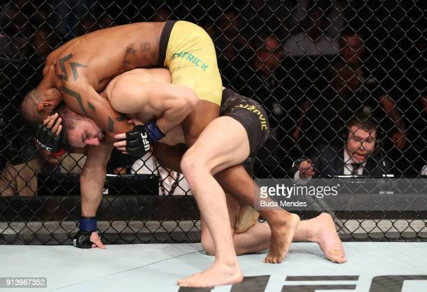 Alan Patrick of Brazil attempts to submit Damir Hadzovic of Bosnia in their lightweight bout during the UFC Fight Night event at Mangueirinho Arena...