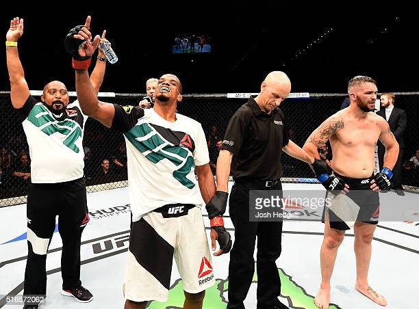 Alan Patrick of Brazil celebrates after defeating Damien Brown of Australia by unanimous decision in their lightweight bout during the UFC Fight...