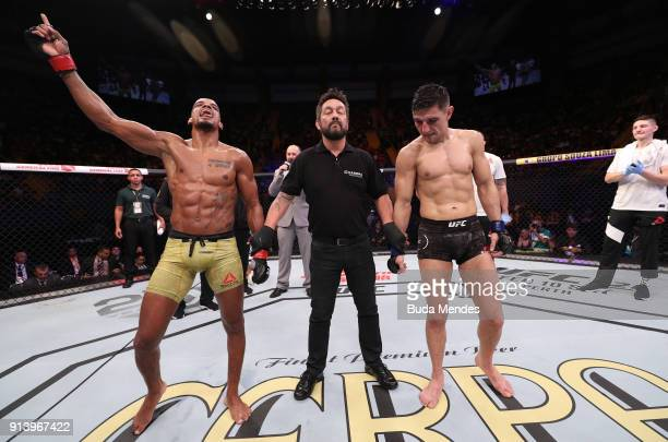 Alan Patrick of Brazil celebrates his victory over Damir Hadzovic of Bosnia in their lightweight bout during the UFC Fight Night event at...